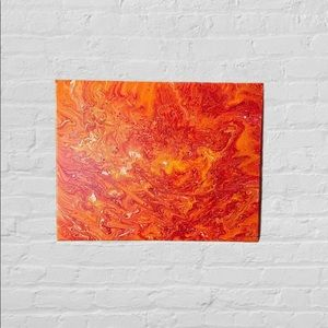 Handmade Abstract Warm Colored Painting